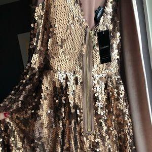 Gold Sequin BeBe Dress